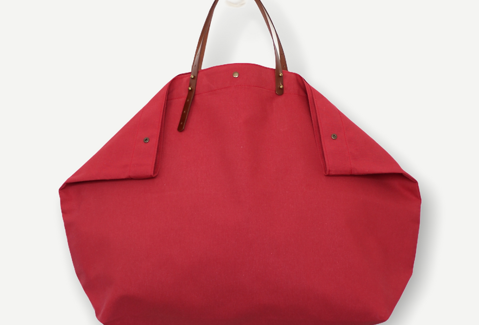 FADED RED RECLAIMED CANVAS BEACH BAG XL