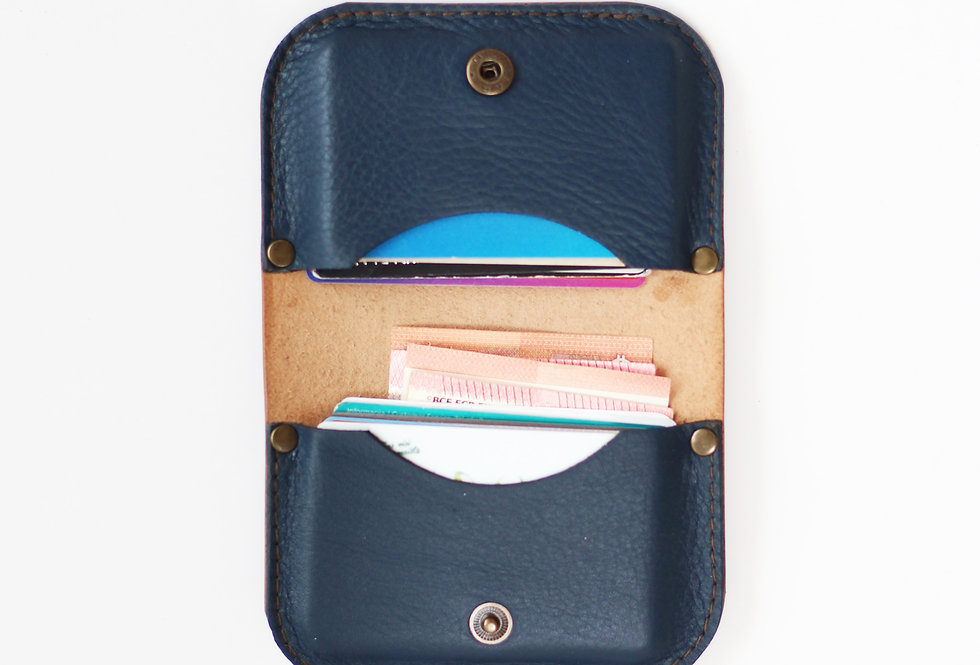 SUNDAY WALLET IN DARK BROWN AND BLUE
