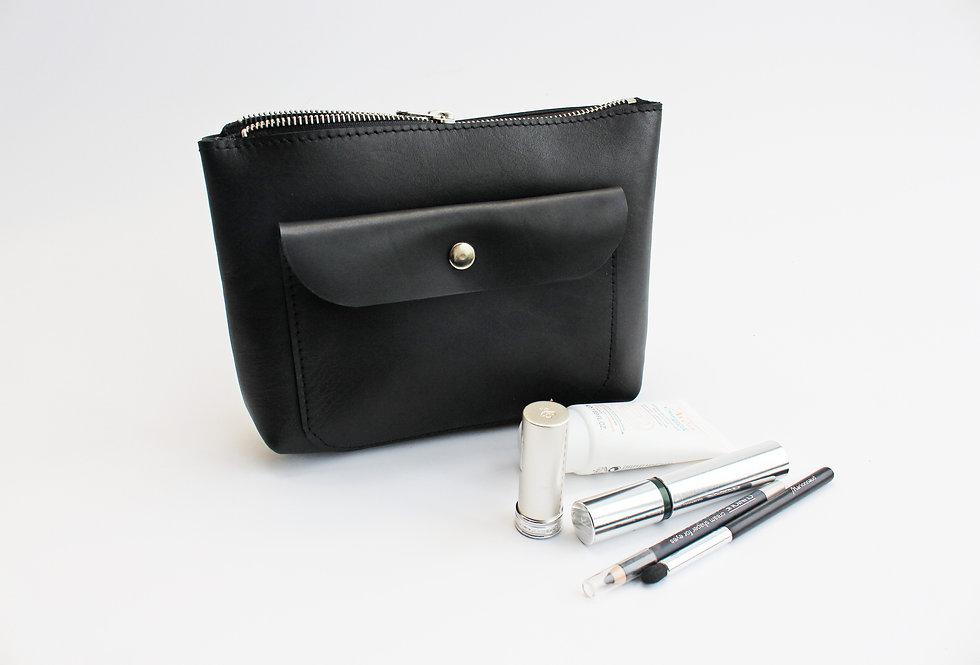 Black leather makeup bag with envelope pocket