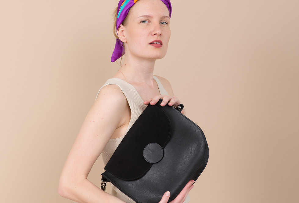 FIONA LEATHER HANDBAG IN BLACK AND SUEDE