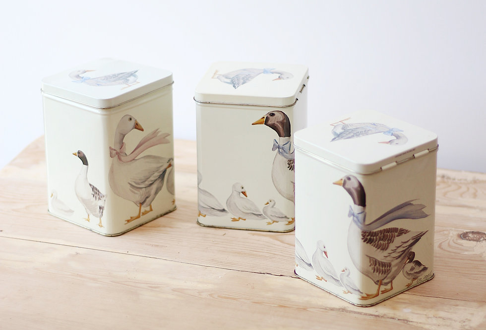 GEESE DECORATED TIN STORAGE BOXES A SET OF THREE