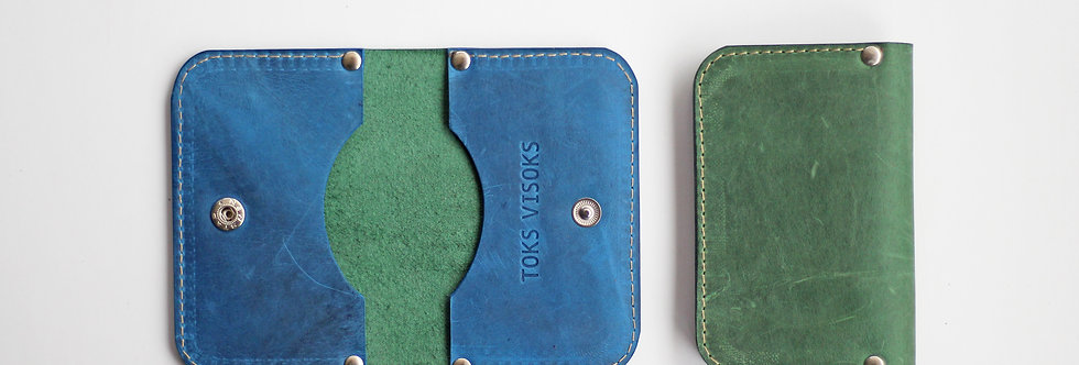 SUNDAY WALLET IN GREEN AND BLUE