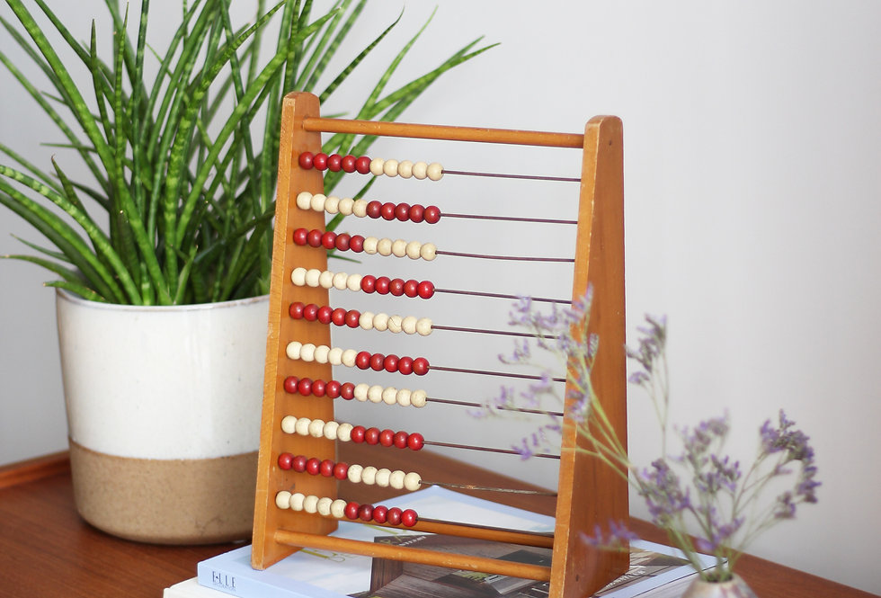 VINTAGE WOODEN CALCULATOR WITH RED AND WHITE BEADS