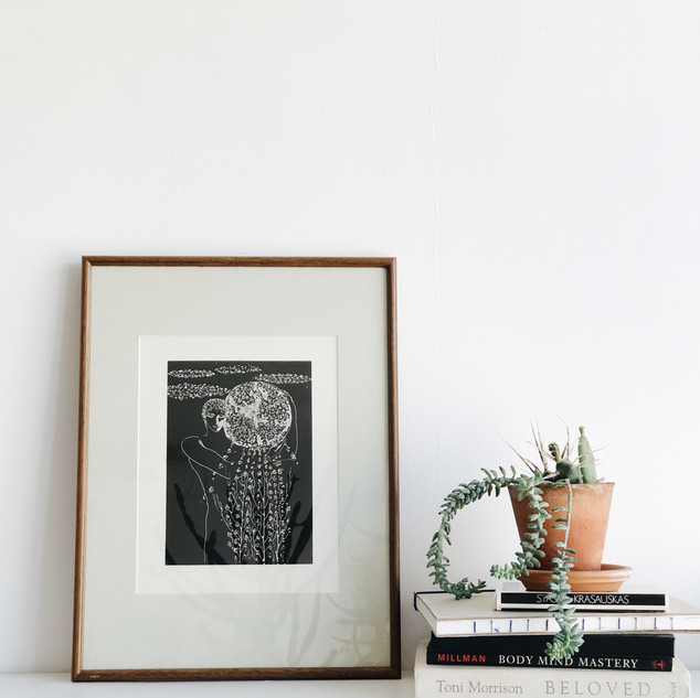 Vintage print by S. Krasauskas in a wooden vintage frame