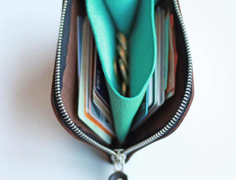 WEDNESDAY WALLET IN DARK BROWN AND TURQUOISE