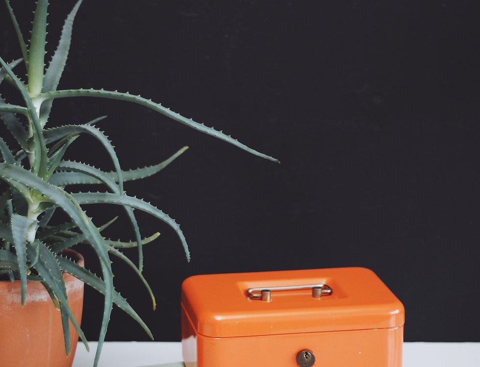 Orange vintage metal safe box