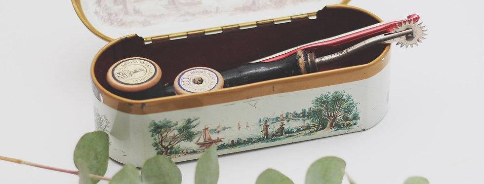 Vintage tin box with red velvet lining
