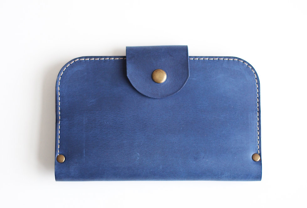 FRIDAY WALLET IN BLUE AND GINGER