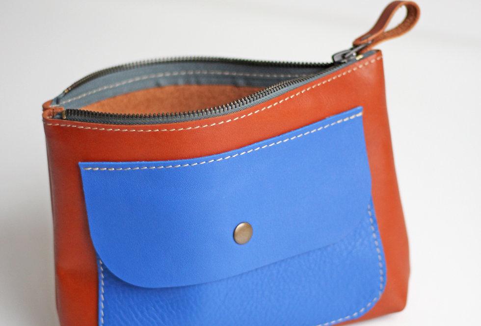 AGNES MAKE UP BAG IN GINGER AND BLUE