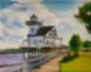 SOLD - Lighthouse, Edenton, 8' x 10' oil painting