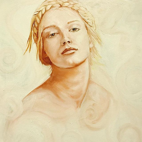 """Head Study with braid"" Oil on canvas 16"" x 20"""