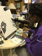Acrylic painting student
