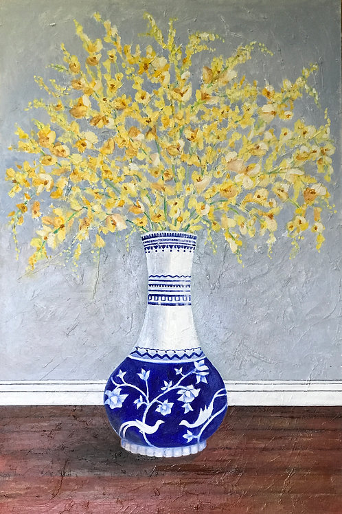 "Forsythia in blue and white vase, 36"" x 54"" oil on canvas."