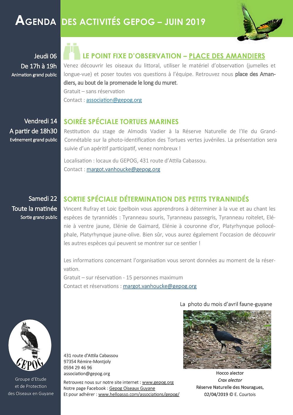 Agenda des activités GEPOG - Juin 2019