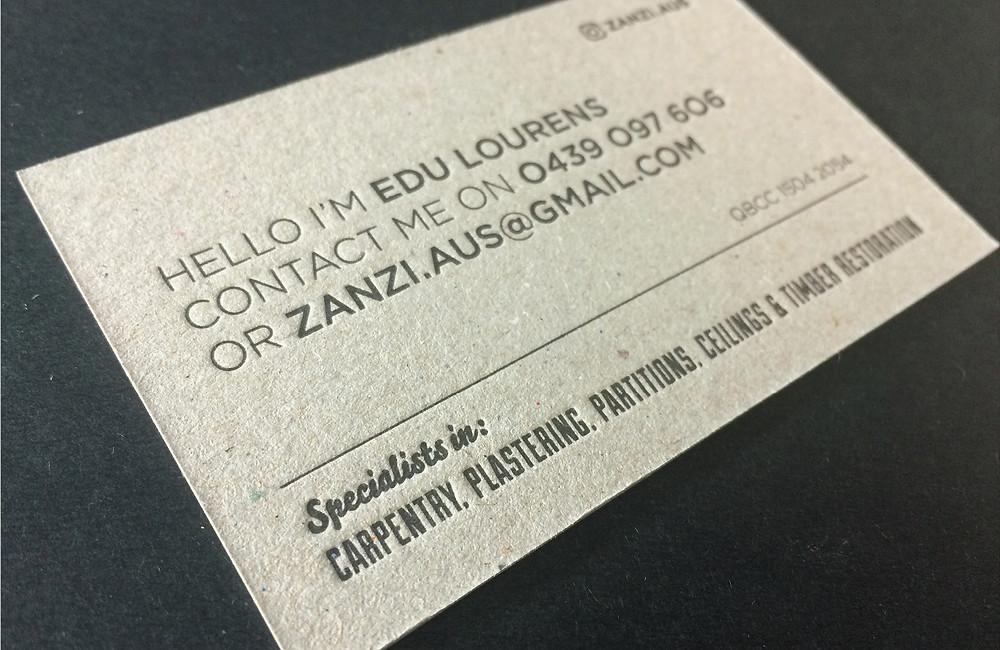 Letterpress business card for Zanzi