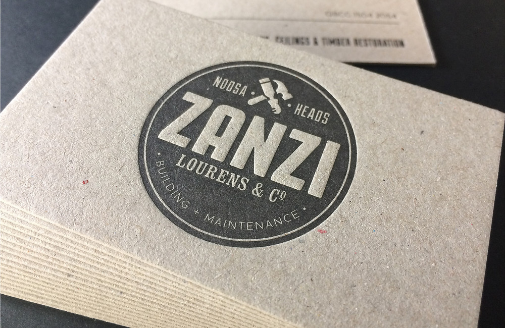 A stack of letterpress business cards for Zanzi