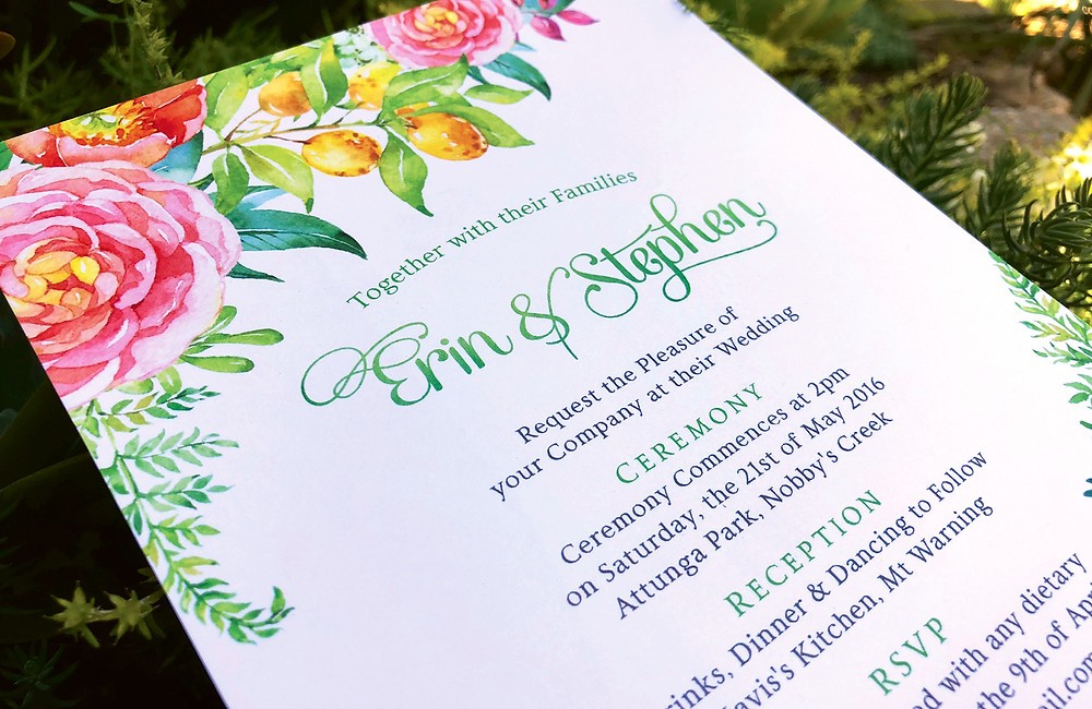 Watercolour Wedding Invite