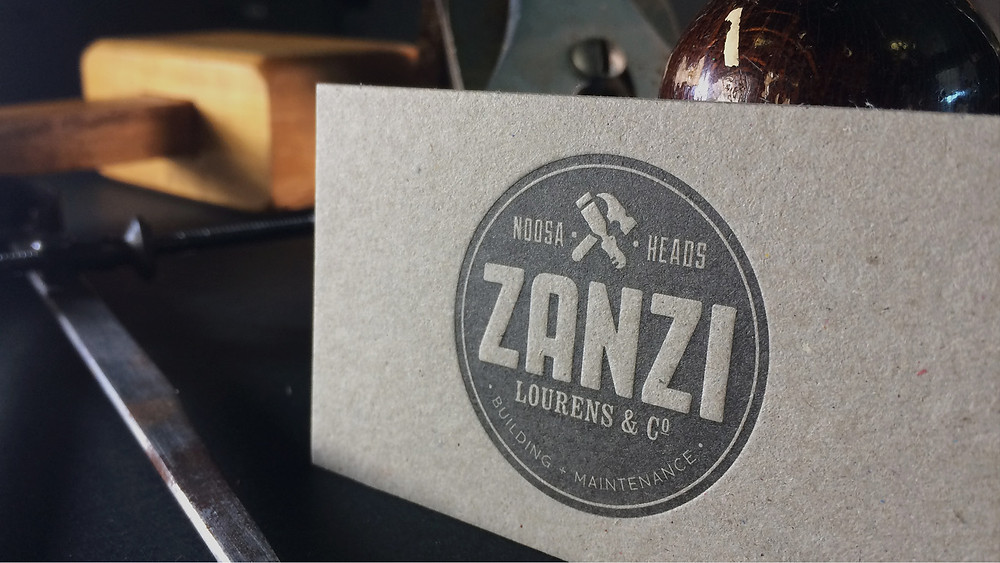 Image of a letterpress business card for Zanzi