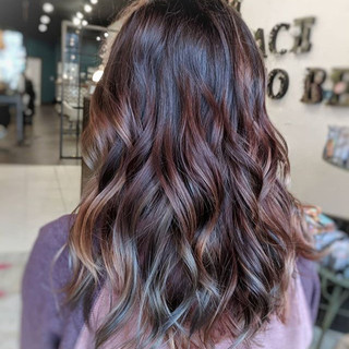 Muted Oil Slick Colors on Curled hair