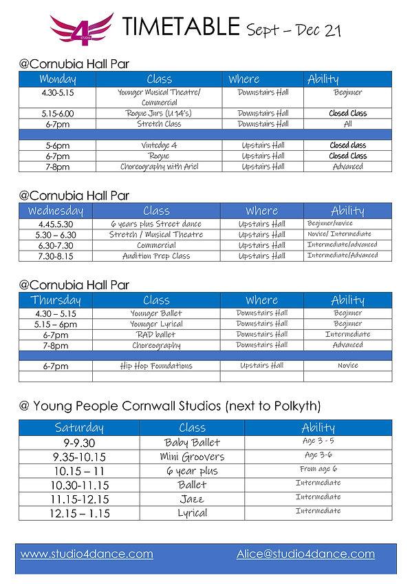 Studio 4 Timetable