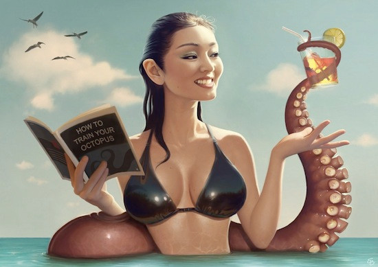 gong-li-and-tentacle-How-To-Train-Your-Octopus-by-Serge-Birault.jpg
