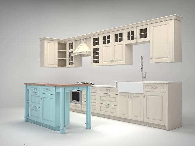Кухня в американском стиле визуализация (5)