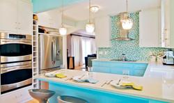скандинавская кухня бирюзового цвета