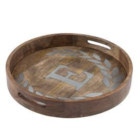 "WOOD/METAL 20"" ROUND TRAY ""E"""