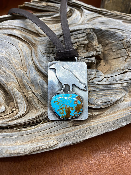 Large Raven & Turquoise Necklace
