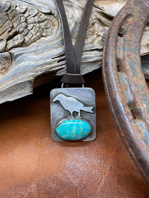 Small Raven & Turquoise Necklace