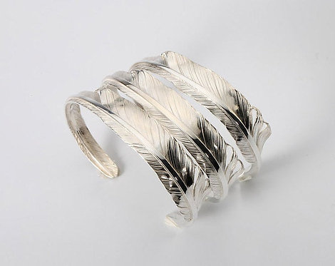 Feather Bangle - Sterling