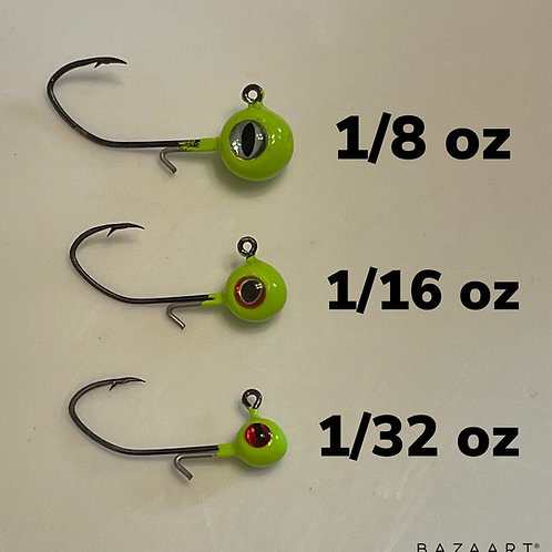 Freestyle Wire Keeper Crappie Jig Heads 1/8, 1/16, and 1/32 oz (Pack of 5)