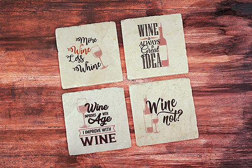 More Wine, Less Whine Coaster Set