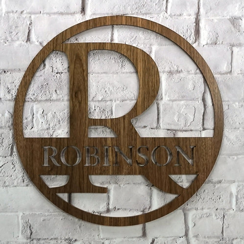 Personalized Monogram Circle (Walnut & Alder Wood)