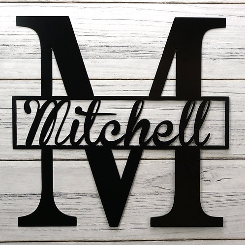 Personalized Monogram with Square Middle (Metal)