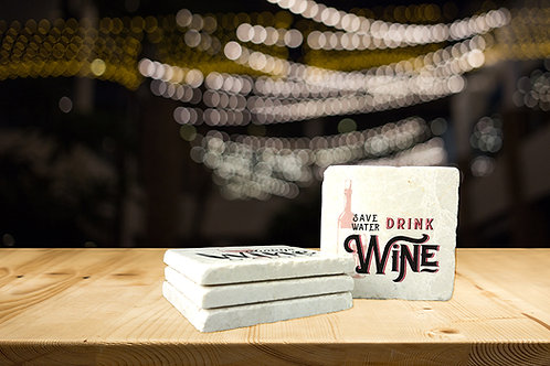 Save Water, Drink Wine Coaster Set