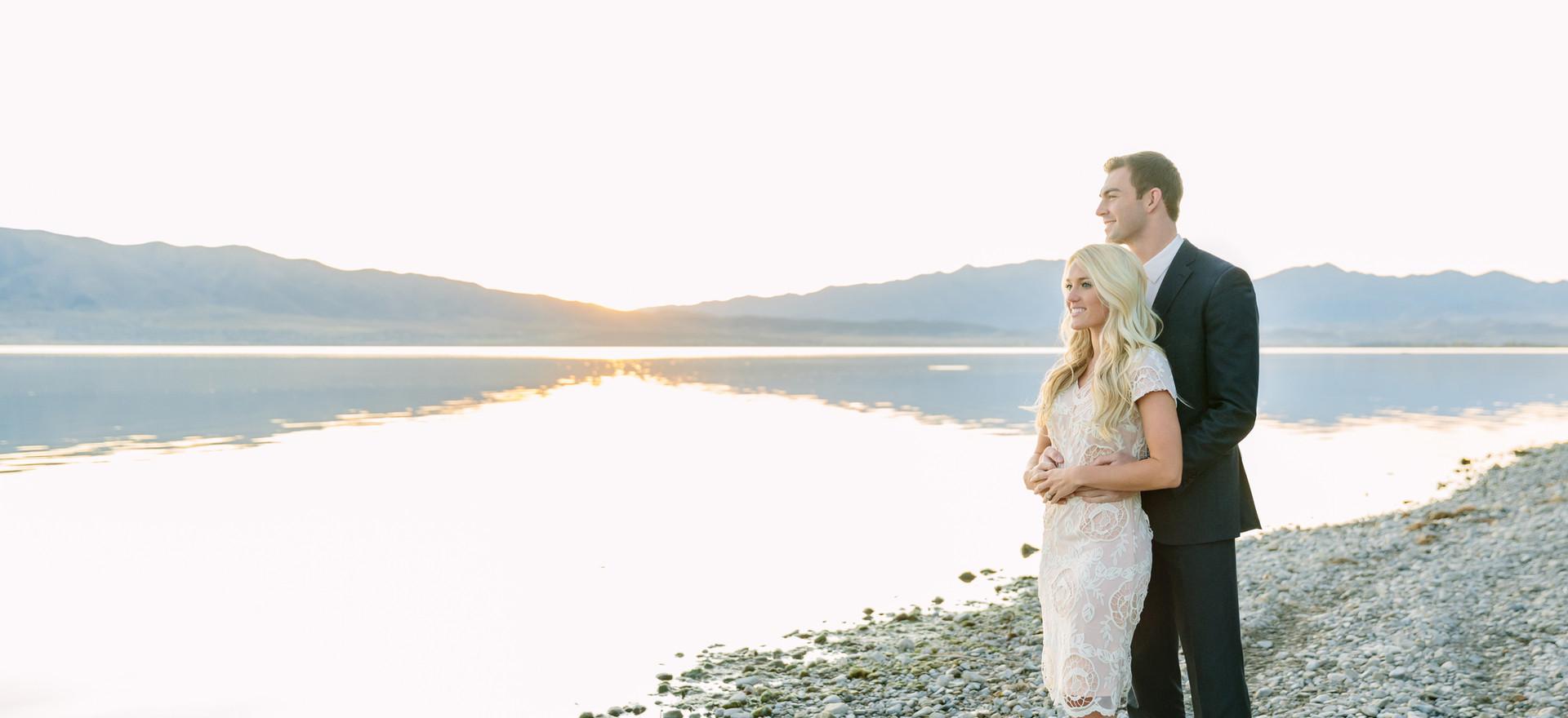 Utah Lake Engagement Photo