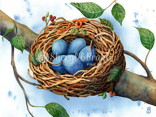 Watercolor Painting Blue Eggs in Nest