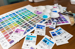 Watercolor color charts and cards_
