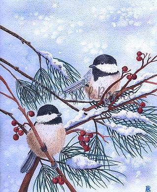 Winter Chickadees Watercolor Print.jpg