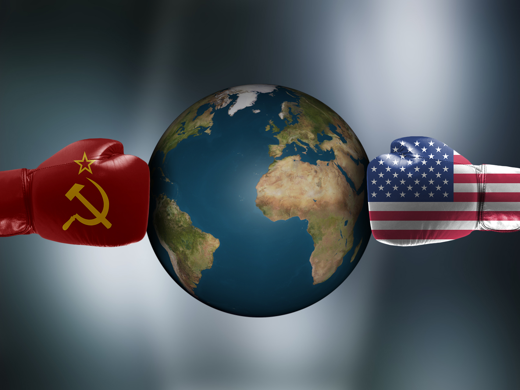 Cold war boxing gloves earth planet