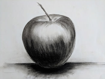 charcoal drawing of an apple