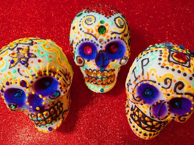 3 sugar skulls
