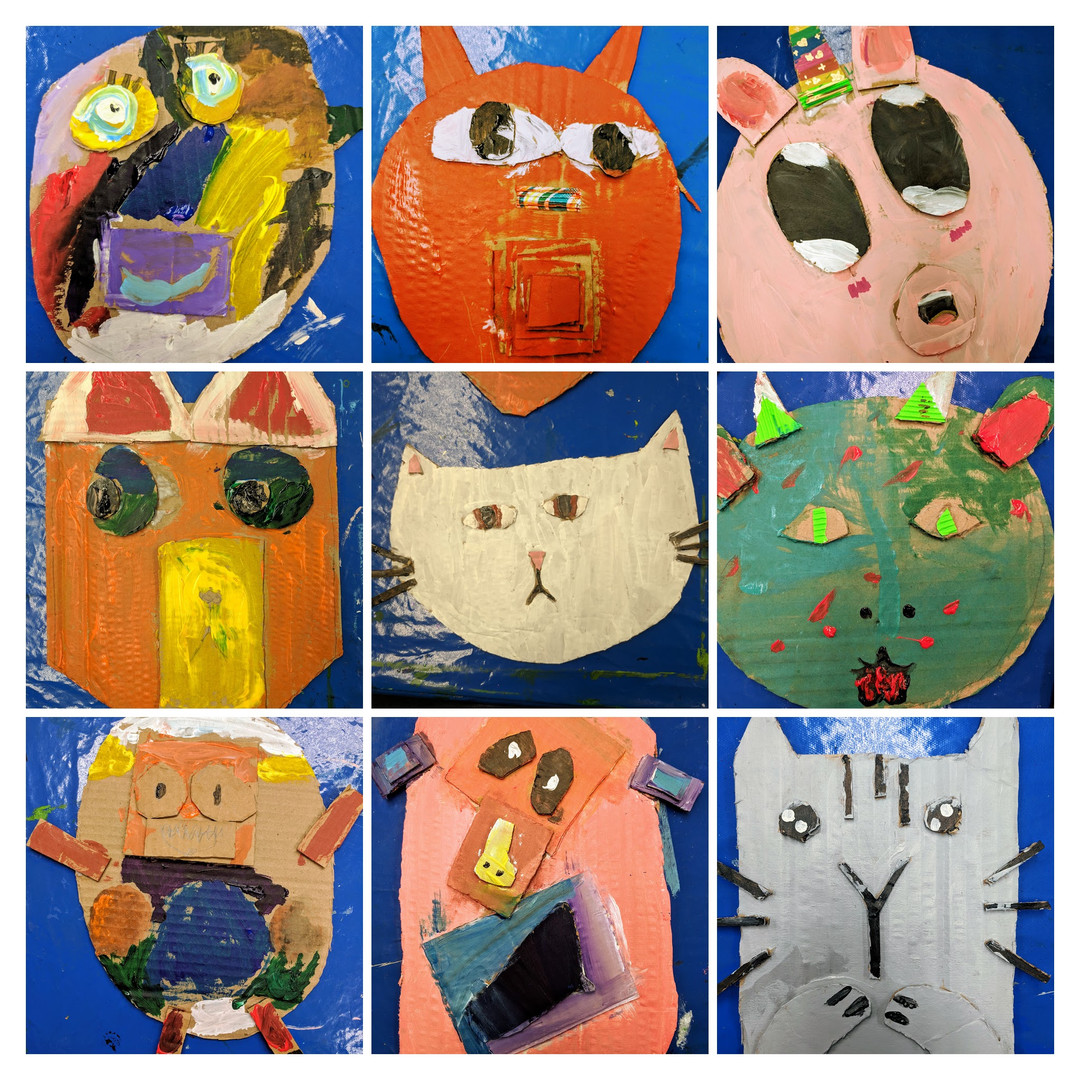 Masks, created by students, collage