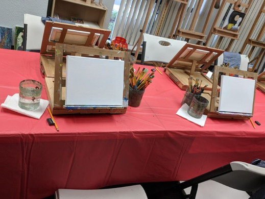 Classroom prepared for the painting party