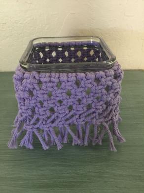 jar with purple macrame