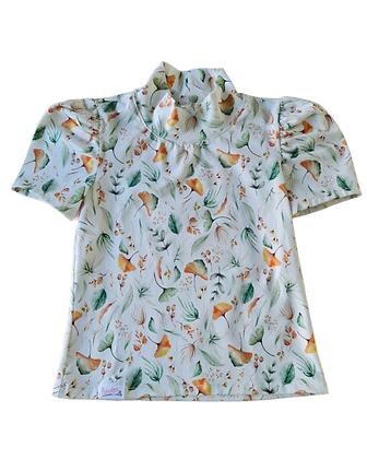 Shirtje pofmouw  (met opstaand kraagje of gewone hals)