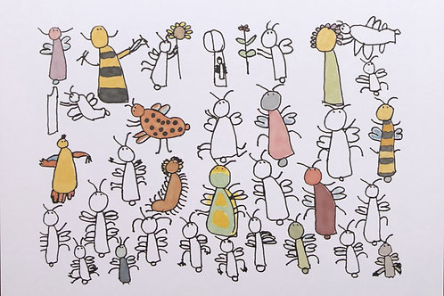 Postkarte Biene und Co.