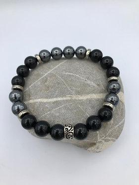 Bracelet unique en hématite et onyx et perle argentée