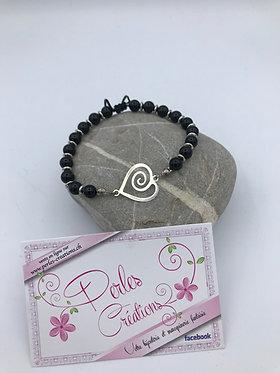 Bracelet unique coeur en spirale